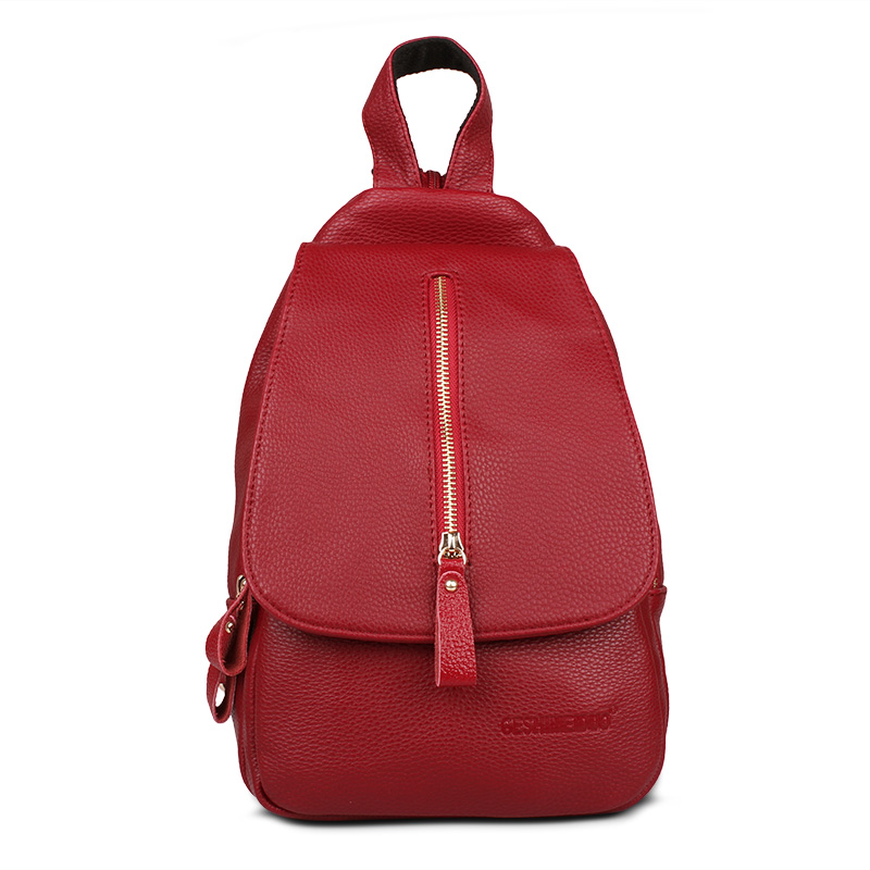 2017 autumn new Korean shoulder bag female casual chest pack female bag travel small backpack fashion soft leather bag tide (Red wine)