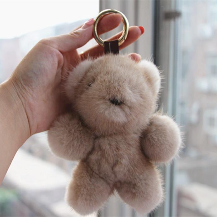 2017 imported Swan Velvet mink hair Bear pendant bag with key buckle teddy bear ornaments cute gift