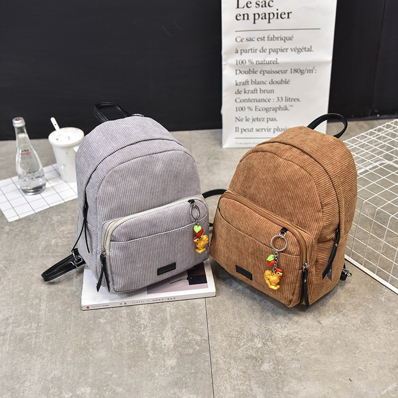2017 Korean-style shoulder bag solid color wild chick pendant small backpack Stylish minimalist shoulder messenger handbag (Gray)