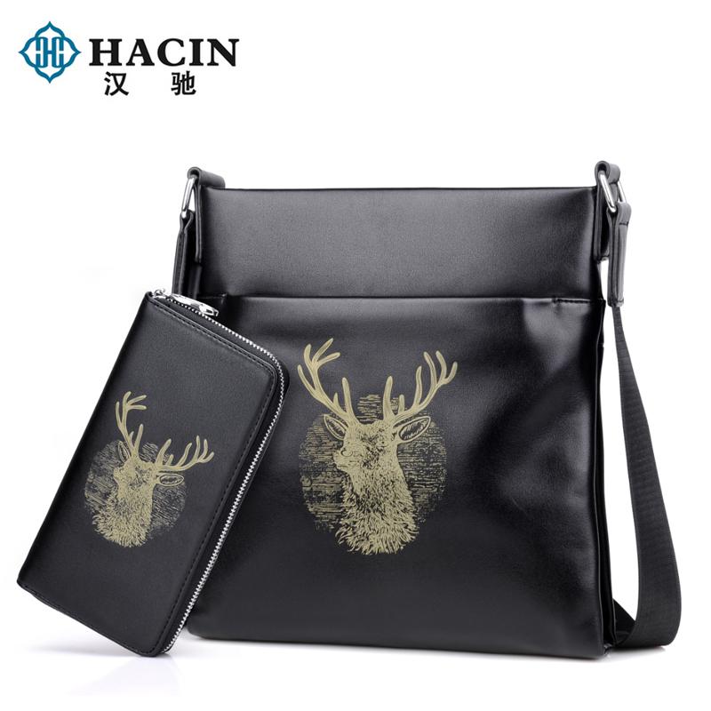 2017 New style man bag shoulder bag messenger bag casual business bags Korean-style tide briefcase bag diagonal backpack bag men (Black to send hand bag)