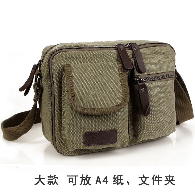 2017 New style men canvas bag fashion Stylish men's retro shoulder backpack Korean-style casual messenger bag (Dark green)