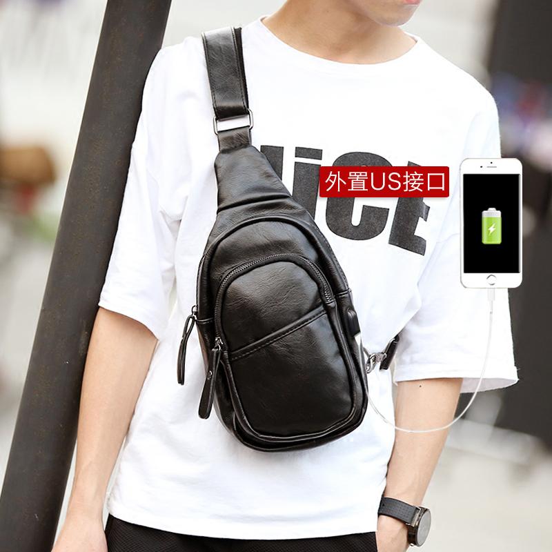 2017 New style small chest pack men's messenger bag casual bag Korean-style tide shoulder bag man bag outdoor backpack riding bag (Black USB)