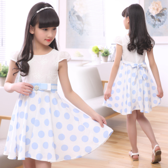 6 dress 3-12 years old cotton short-sleeved princess dress summer(Dark blue color) (Dark blue color) - 2