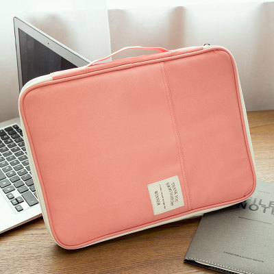 A4 large capacity home with multi-functional passport organizing folders storgage bag (Leather standard pink color)