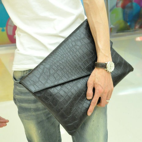 A4Han New style men's crocodile pattern clutch bag