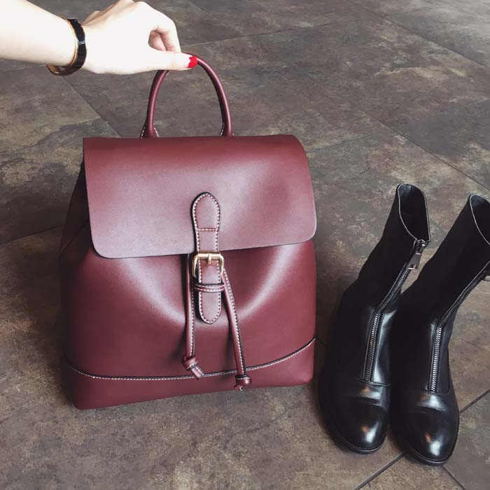 AI Amoy Korean-style New style retro shoulder bag (LS6018 _ wine red large)