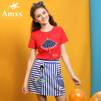 Amxs/Ai Musi Print striped package hip tide a word dress