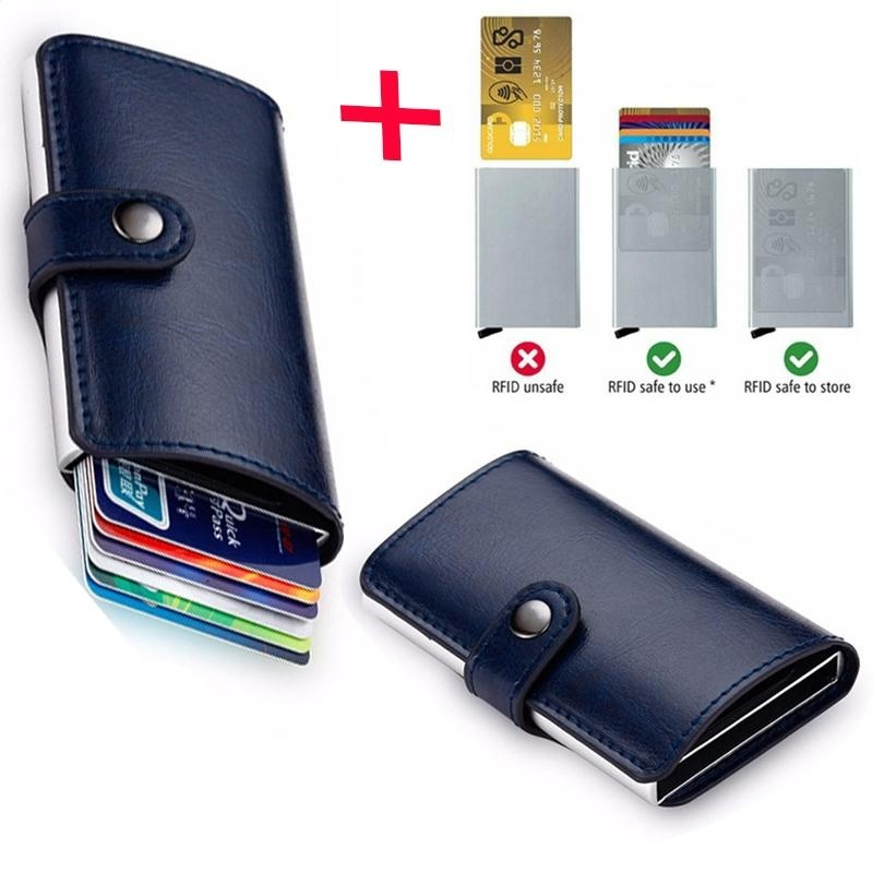 Anti-theft Men Leather Wallet With Mini RFID Wallets Automatic ...