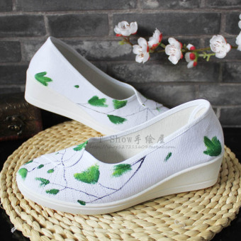 Antique fashion plain weave green clover shoes Ginkgo (Green)