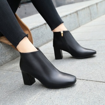 Autumn and Winter New style square head high-heeled shoes (Black)