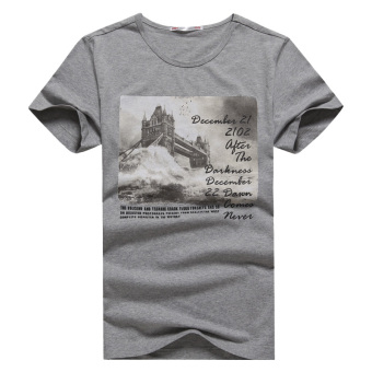 Bai Hui cotton summer men's tower T-shirt (2013001 light gray color) (2013001 light gray color)