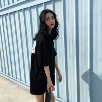 BF Korean female short-sleeved student loose Top T-shirt (Black)