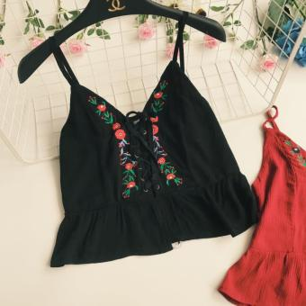 Harga Bohemian New style national wind embroidered flowers strap Top (Black) (Black)