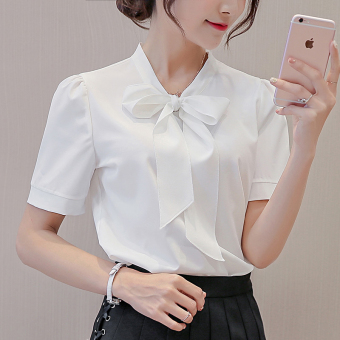 Caidaifei Korean-style solid spring and summer New style short sleeved shirt base shirt (White) (White)