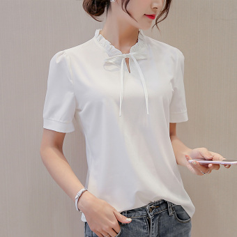 Caidaifei Korean-style spring and summer New style Slim fit short sleeved shirt base shirt (White) (White)