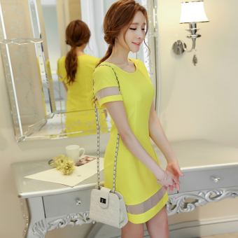 Caidaifei Korean-style spring and summer New style Slim fit women skirt base skirt (Bright yellow) (Bright yellow)