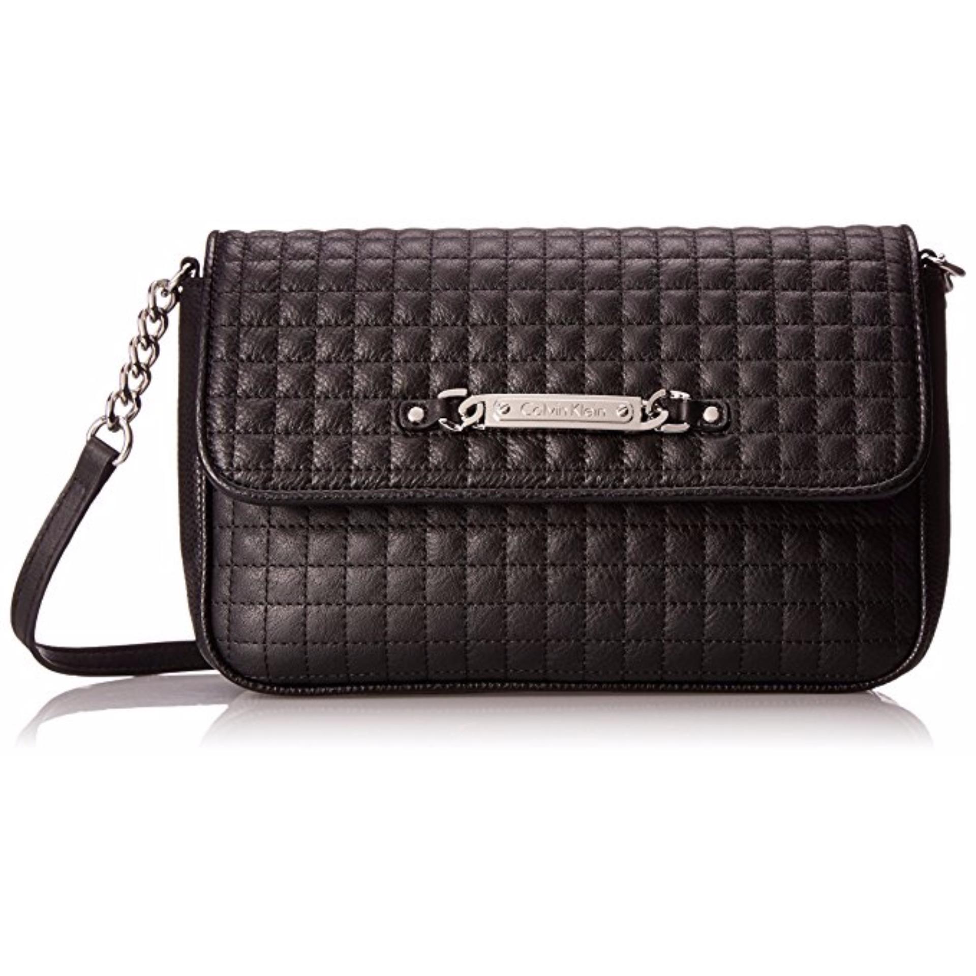 451d15fbcdb Calvin Klein Womens Leather Bag Quilted Pebble Shoulder Black