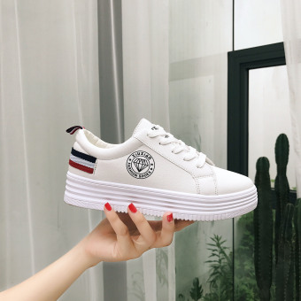 Casual female thick bottomed lace canvas sports shoes BayMini shoes (White)