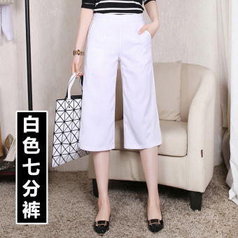 Casual Linen female thin section pantyhose pants seven points wide leg pants (White)
