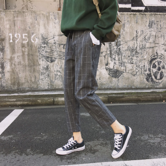 Chic campus new plaid drawstring closure ankle-length pants harem pants (Gray plaid)