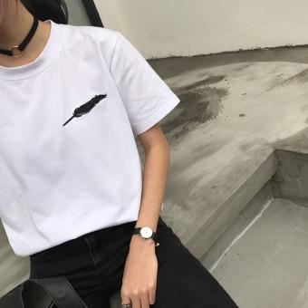 Chic Korean fan loose Hong Kong flavor summer bottoming shirt T-shirt (White) (White)