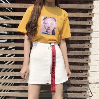 Chic retro ribbon New style Slimming effect short skirts high waist skirts (White)