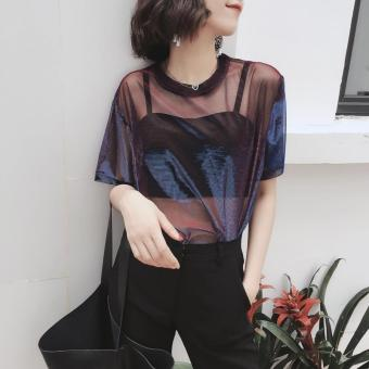 Chic women Top Hong Kong flavor style reflective flash short-sleeved t-shirt