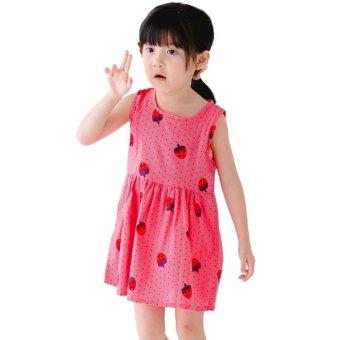 Children Girls Cotton Sleeveless Fruit Printed Princess Dress (RoseRed) - intl - 2