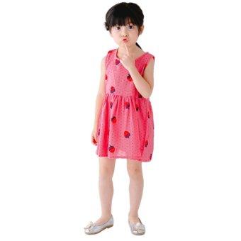 Children Girls Cotton Sleeveless Fruit Printed Princess Dress (RoseRed) - intl - 5