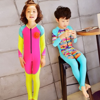 Children'S Girls Boys Cute Piece Snorkeling Swimming Swimsuit Sun Protection Diving Clothing Jellyfish Clothing Hot Spring Swimsuit (Fluorescent Yellow) - 2