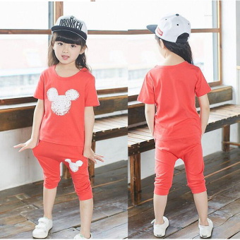 Harga Children's clothing wholesale factory direct 2017 summer New styleKorean-style features product baby children's HarLan fashion suit