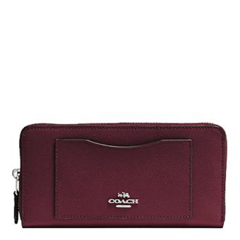 Coach Accordion Zip Wallet In Crossgrain Leather Burgundy