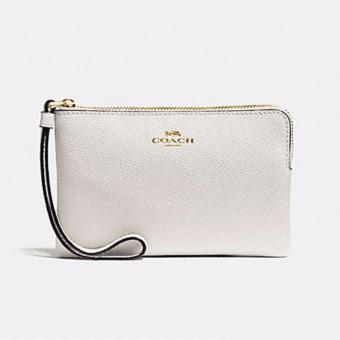 Coach F58032 Corner Zip Crossgrain Leather Wristlet (Chalk)