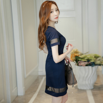 Color Diana New style Slim fit temperament bottoming dress (Navy blue)