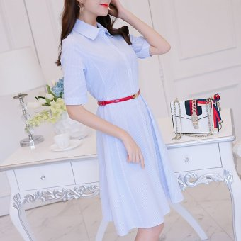 Color Diana New style Slimming effect Slim fit Stripedshort-sleeved dress