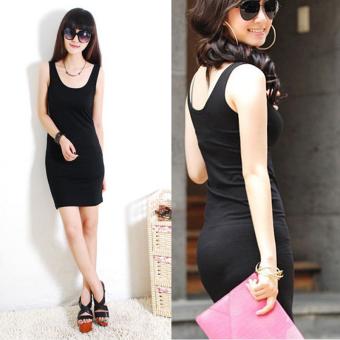 Cyber Women Summer Sexy Bodycon Sleeveless Casual Vest Mini Dress (Black) - 4