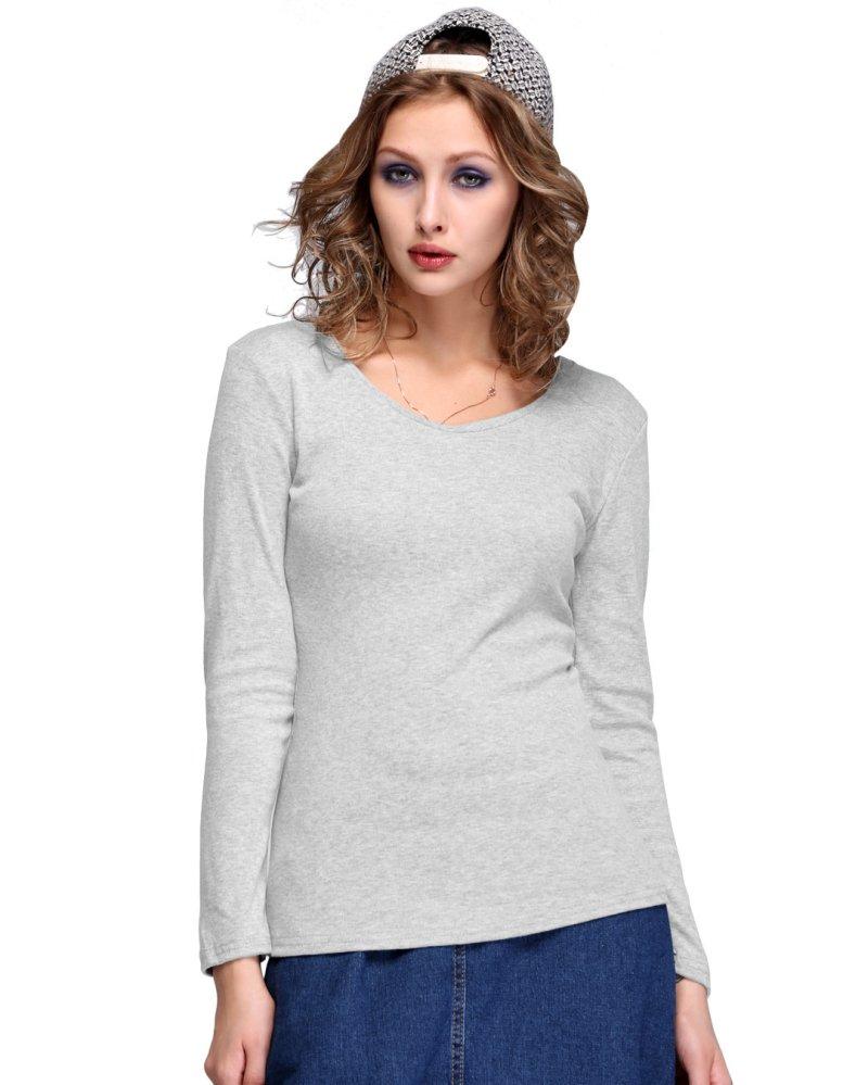 Cyber Women Thin Long Sleeve Cotton Knitwear Casual T-shirt Gray ...