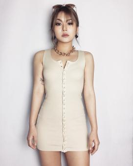 European & American skinny stretch single-breasted cotton tank dress