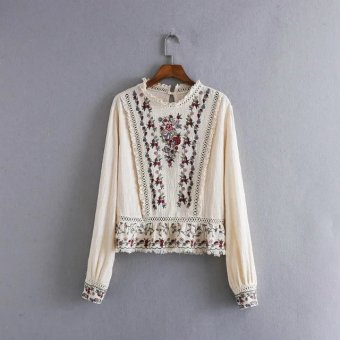 Harga European and American style embroidery New style heavy work Topshirt