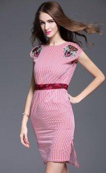 European leg embroidered heavy work Slim fit Slimming effect short-sleeved dress (Red)