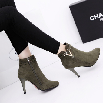 European leg Korean-style winter New style pointed suede high-heeled shoes (Dark green color)