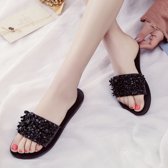 Female non-slip flat crystal sandals slippers (Black (728))