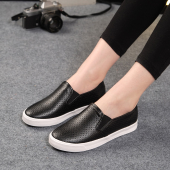 Female shoes disposable 43 yards breathable hollow white shoes (Black) (Black)