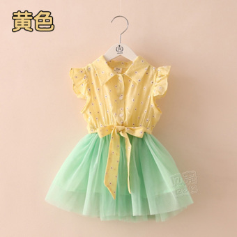 Floral qz-1771 Korean-style girls skirt children's dress (Yellow) (Yellow)