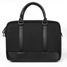 GEARMAX Men Business Messenger Bags Black Genuine Leather Notebook Bag Wool Felt Business Laptop Briefcase Zipper