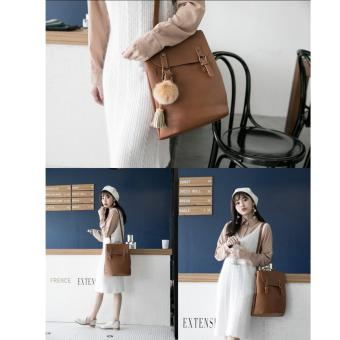 [Geraldine] Stephanie 3 Way Shoulder Backpack (Brown) - 4