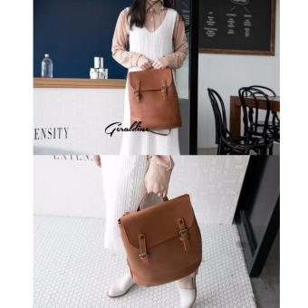 [Geraldine] Stephanie 3 Way Shoulder Backpack (Brown) - 2