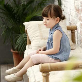 girls denim shirt female small childrens clothing summer 13 years old sleeveless shirt doll collar childrens