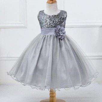 Girls dress sequined dress veil princess dress performance dress - intl - 4