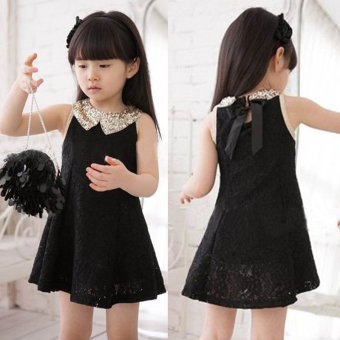 Girls lace New style Korean-style dress (Black lace)